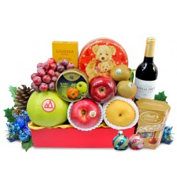 Christmas Fruits and Wine Godiva Chocolate Hamper